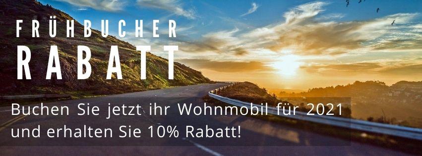 Frühbucher-Rabatt: Buchen Sie jetzt ihr Wohnmobil für 2020 und erhalten Sie 10% Rabatt!